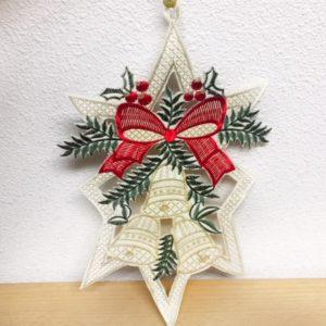 Kersthanger drie bellen en rode strik 9449