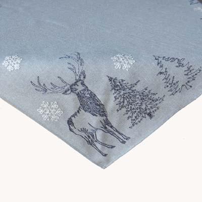 Kerst tafelkleed hert kerstboom sneeuwvlok grijs