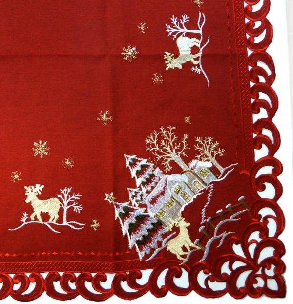 Kerstkleed Linnenlook rood met hert