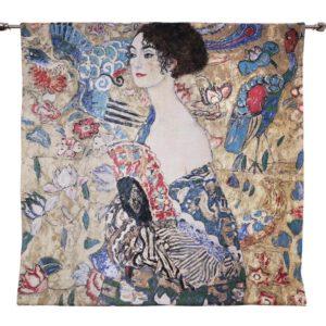 Wandkleed Lady with Fan - 100 x 100 cm