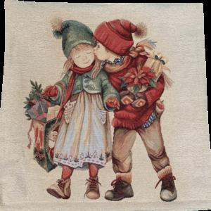 Kussenhoes Kerst Jongen en meisje