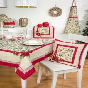 Kerst - Tafelkleed - luxe gobelinstof - Christmas Berries - Closed design