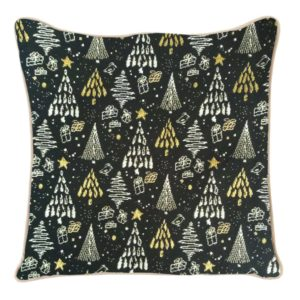 Kussenhoes - Xmass - Tree - Black and Gold - Kerstboom
