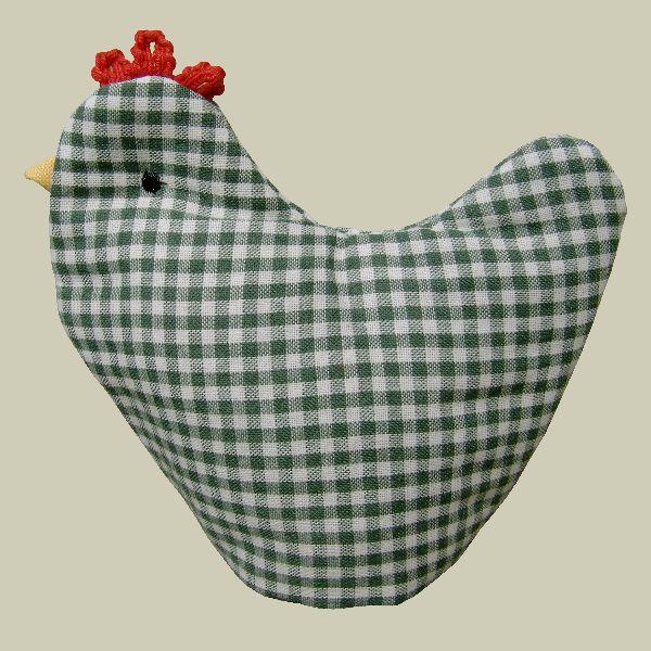 Eierwarmer - Kip - Groen geruit - 9 x 12 cm