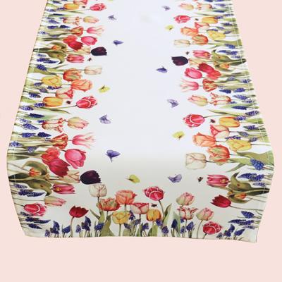 Tafelkleed - creme kleurig - bedrukt met tulpen