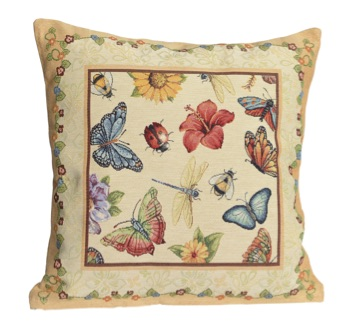 Kussenhoes - luxe gobelin - Butterfly - Vlinder - Zonnebloem