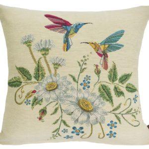 Kussenhoes - Kolibrie - Bloemen - creme achtergrond
