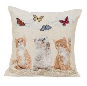 Kussenhoes - Katten met vlinders
