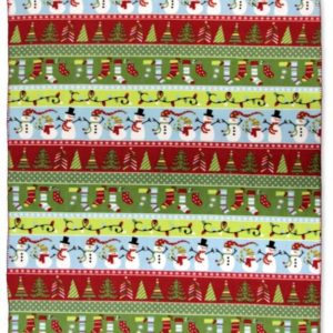 Fleece plaid - 130 x 160 cm - Trees - Kerst - sneeuwpoppen - kerstbomen - kerstsokken