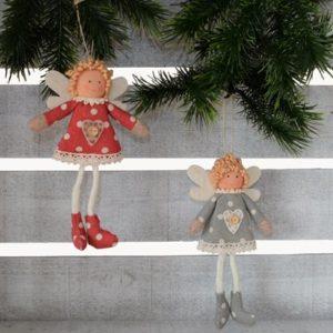 Set van 2 hangende engeltjes - Wichtel - 10 cm - Grijs en Rood