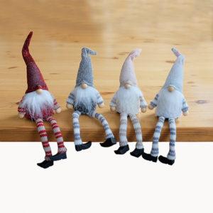 Set van 4 kerst poppetjes - Wichtel - met glitter en zachte stof - 25 cm
