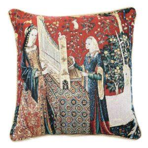 Kunst kussenhoes - Lady en Unicorn - Dame en een Eenhoorn - Sense of Hearing