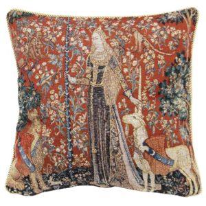 Kunst kussenhoes - Lady en Unicorn - Dame en de Eenhoorn - Sense of Touch