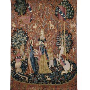Wandkleed - Wandtapijt - Lady and the Unicorn - Dame en de Eenhoorn - Sense of Smell - 120 x 85 cm