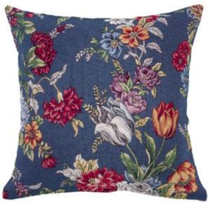 Kussenhoes - luxe gobelinstof - Kate Navy - Donker Blauw met kleurige bloemen