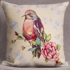 Kussenhoes - Luxe gobelinstof - Bird 1 - Vogel - Kopje omhoog