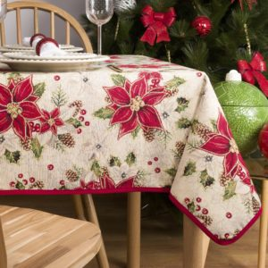 Tafelkleed serie - luxe gobelinstof - Kemi - Kerstroos - Kerst