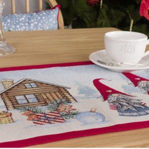 Placemat - Luxe gobelinstof - Kerst - Christmas Village - met zilverdraad