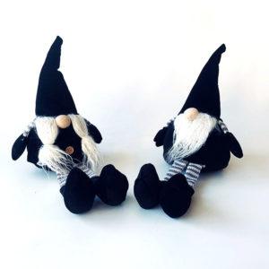Wichtel - Kerst - Plush - Zwarte hoed en lange benen - Set van 2 - 42 cm