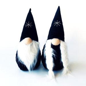 Wichtel - Kerst - Plush - Zwarte Hoed - Jongen en Meisje - Set van 2 - 30 cm
