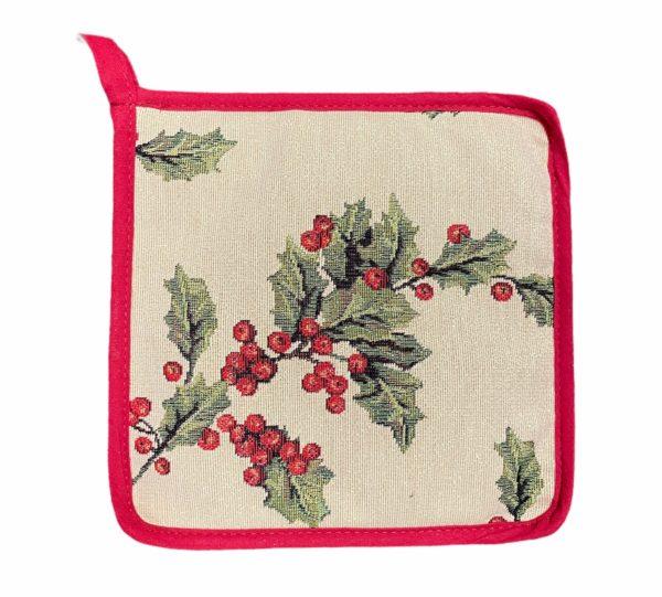 Pannenlap - Luxe gobelinstof - Mistletoe - Kerst - Hulst