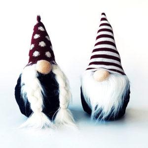 Wichtel - Kerst - Kerstpoppetjes - Plush - Stripe - Dots - Rood - wit en zwart - Set van 2 - 30 cm
